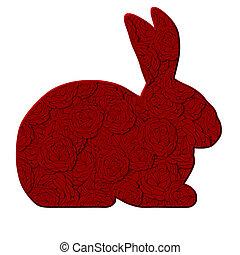liebe, kaninchen, mit, rote rosen, muster