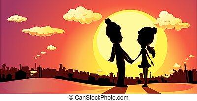 liebe, liebhaber, winter, -, silhouette