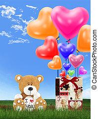 liebe, luftballone, bär, herz