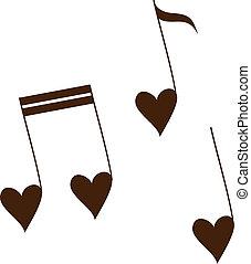 liebe, melodie, freigestellt, auf, white.
