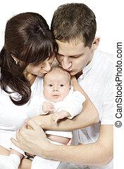 liebe, neugeborenes, baby., familie, küssende , eltern