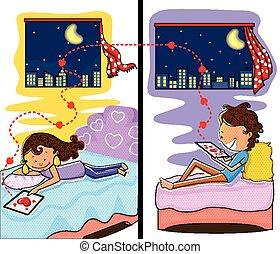 liebe, paar, plaudern, in, valentines, nacht