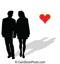 liebe, paar, vektor, silhouette, abbildung