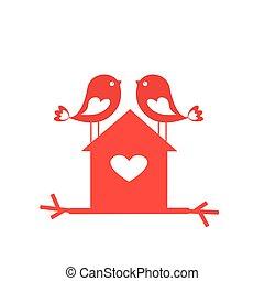 liebe, reizend, vögel, und, birdhouse, -, karte, für, valentine, tag