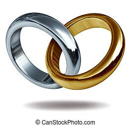 liebe, ringe, titan, und, goldherz, form