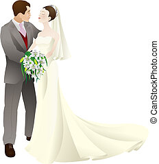 liebe, stallknecht, abbildung, braut, vektor, wedding