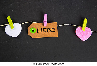 Liebe - the german word for love - Liebe inscription written...