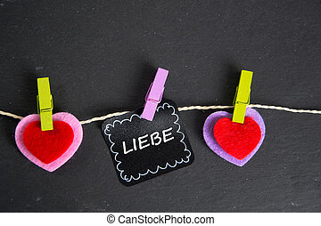 Liebe - the german word for love - Liebe inscription written...