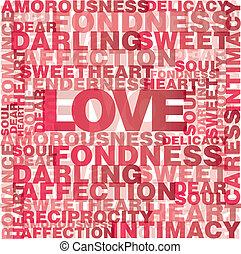 liebe, wörter, valentine