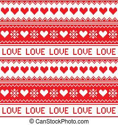liebe, winter, seamless, nordisch, rotes , er