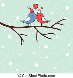 liebe, winter, zweig, vögel