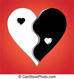liebe, yin yang, auf, roter hintergrund, vektor