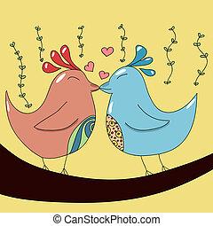 liebe, zwei vögel