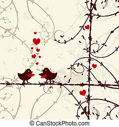 liebe, zweig, küssende , vögel