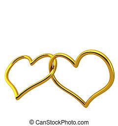 lieben herz, geformt, goldringe, verbunden, zusammen