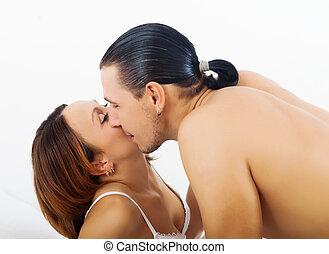 liebenden, küssen bett