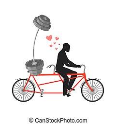 liebhaber, fitness., mann, und, hantel, auf, bicycle., spaziergang, auf, tandem., always, zusammen., ich, liebe, bodybuilding