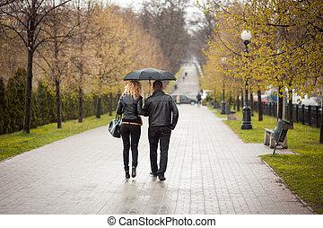 liebhaber, hände halten, und, laufen park