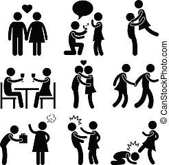 liebhaber, paar, liebe, vorschlag, umarmung