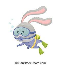 liebre, snorkeling, llevando, ilustración, vector, salto subacuático, traje