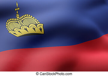 Liechtenstein 3d flag - 3d rendering of a detail of a silked...