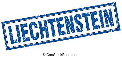 Liechtenstein blue square grunge stamp on white