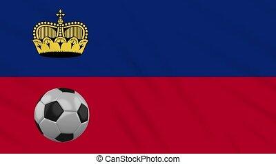 Liechtenstein flag waving and football rotates, loop -...
