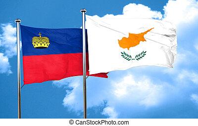 Liechtenstein flag with Cyprus flag, 3D rendering