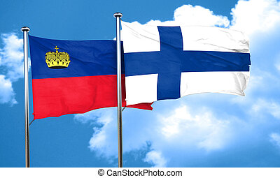 Liechtenstein flag with Finland flag, 3D rendering