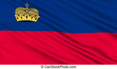 Liechtenstein Flag, with real structure of a fabric