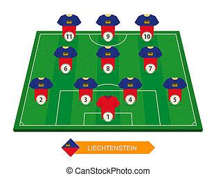 Liechtenstein football team lineup on soccer field for European football competition