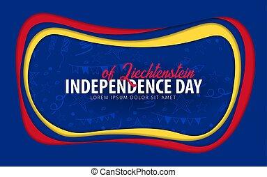 Liechtenstein. Independence day greeting card. Paper cut style.