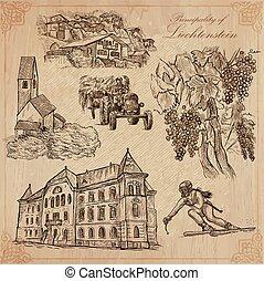 liechtenstein, mano, viaje, vector, -, dibujado, paquete