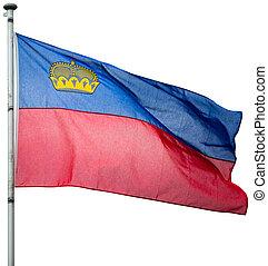 Liechtenstein national flag in white background - ...