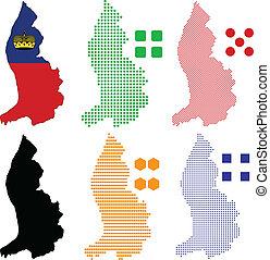 Liechtenstein - Vector illustration pixel map of...