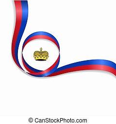 Liechtenstein wavy flag background. Vector illustration. -...