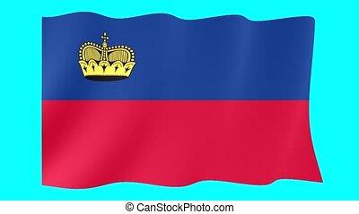 Liechtensteiner flag .  Waving