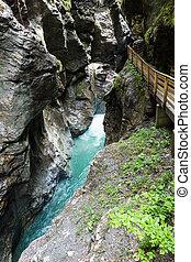 Liechtensteinklamm gorge (Austria) - Wooden planked footway...