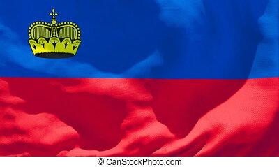 Liechtenstein's national flag flutters in the wind