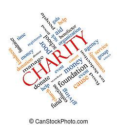 liefdadigheid, woord, wolk, concept, hoekig