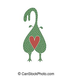 liefde, achtergrond, heart., dinosaurus, vector, mal, kunst, dinoheart., kaart