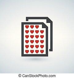 liefde, achtergrond, illustratie, brief, icon., witte