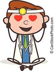 liefde, arts, illustratie, vector, het vallen, spotprent
