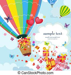 liefde, balloon, lucht, kadootjes, warme, vrolijke