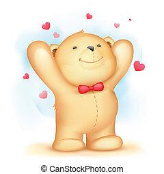 liefde, beer, achtergrond, teddy