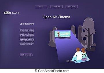 liefde, bioscoop, open, paar, lucht