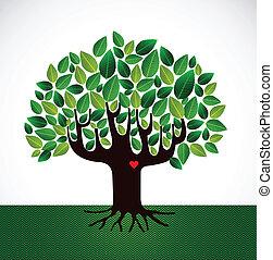 liefde, boompje, gaan, groene, concept