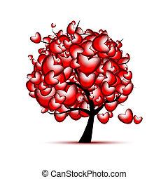 liefde, boompje, valentijn, ontwerp, hartjes, dag, rood