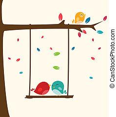liefde, boompje, vogels, vrolijke