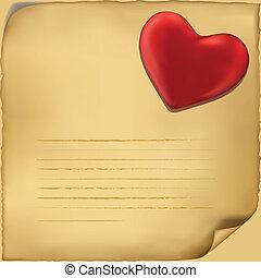 liefde brief, icon., illustratie, op wit, achtergrond